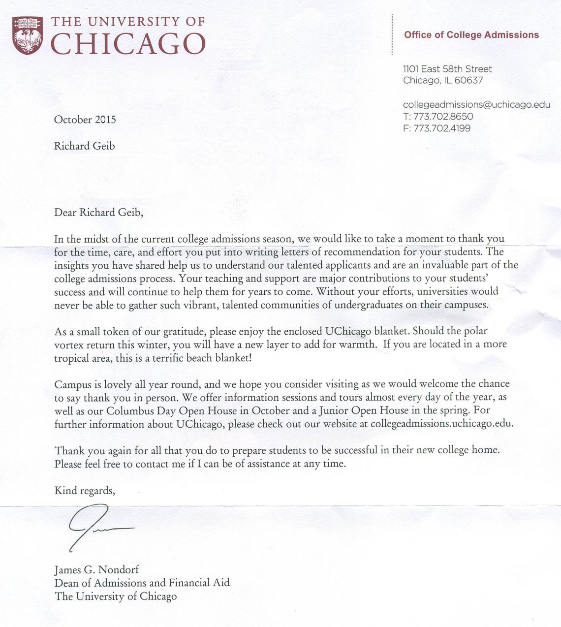 when do uc acceptance letters come quot i the of chicago quot richard geib s 45313